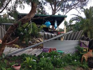 Roof collapses after 102km/h winds