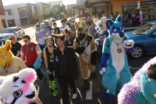 The Furries walk through Beaufort Street in Northbridge