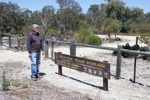 Vandlised fence of the Lightning Swamp reserve