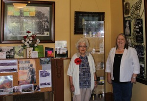 Mrs Chapple standing with her mother Mrs Marjorie Porter in the room she was born.
