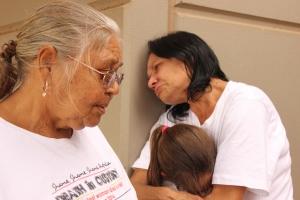 Carol Roe, Della Roe and Yolonda Roe outside the South Hedland Police Station