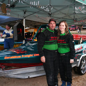 Simon Cain and navigator Rachael Uren with their V8 Jet Boat