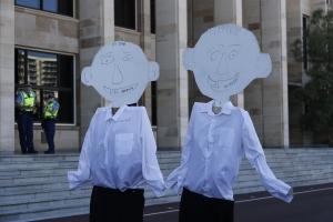 Cardboard cutouts of Dean Nalder and Colin Barnett. PHOTO: Rachel Wong.