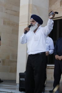 Satinder Sumra outside Parliament House. PHOTO: Rachel Wong