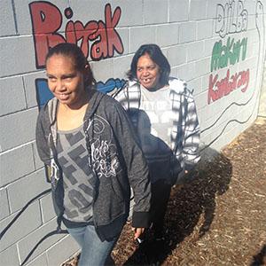 Rosalyn Taylor and Louise Garlett outside the Wirrpanda office in Kwinana