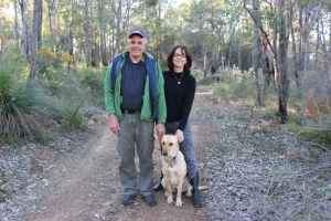 Peter and Kathleen Gilson walking their dog Brandy in the park. Credit: Rachel Neumann