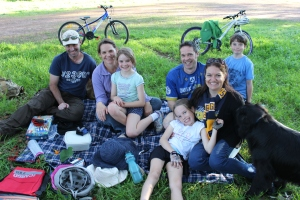 From left-to-right: Andrew Crawford, Leoni Monks, Caitlin Crawford, Hayley Monks, Kelly Monks and Kye Monks, enjoying a picnic in the park on Caitlin's birthday. Credit: Rachel Neumann