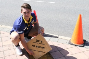 Jye Bolton with his new paver on the Sandover Medal Walk. PHOTO: Matthew Jones.