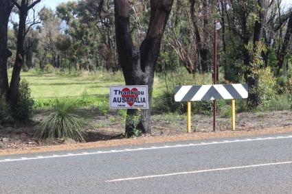 "Sign saying ""Thank You Australia"""