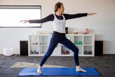 Therapeutic yoga instructor, Patti McBain in the studio.