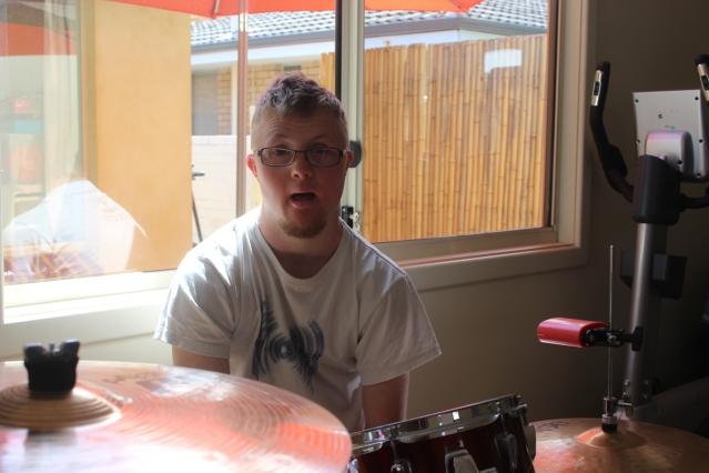 Nic Edwards at his drum kit.